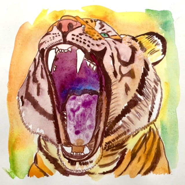 Uffe Stadil Christoffersen. Atelier-Kaiserborgen. Tiger growl - 29x29 cm 2021 - watercolor