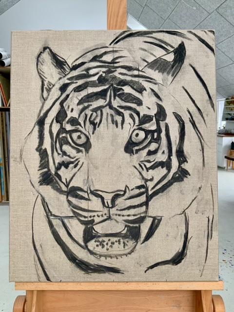 Uffe Christoffersen. Atelier-Kaiserborgen. Stadie 1. Tiger portræt - 73x60 cm 2021 - Maleri