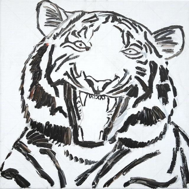 Uffe Stadil Christoffersen. Atelier-Kaiserborgen. Stadie 2 - Tiger der er ved at dø af grin! 50x50 cm 2021 - sort med rødt, hvidt lærred.