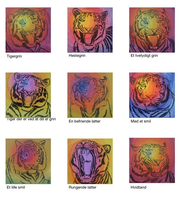 Uffe Stadil Christoffersen. Atelier-Kaiserborgen. Stadie 3 - 9 malerier 50x50 cm 2021 - Ovenpå tegningen laserer jeg et tyndt farvelag, tonet i varme farver.