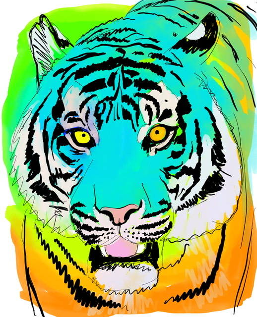 Uffe Christoffersen. C. LAUGHING TIGER. Digital Art