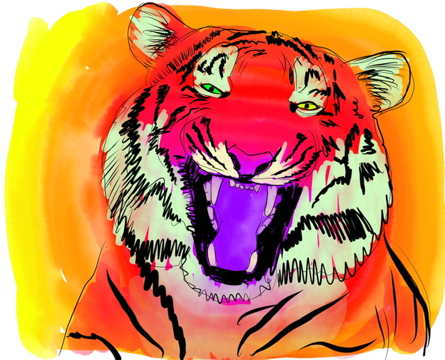 Uffe Christoffersen. F. LAUGHING TIGER. Digital Art