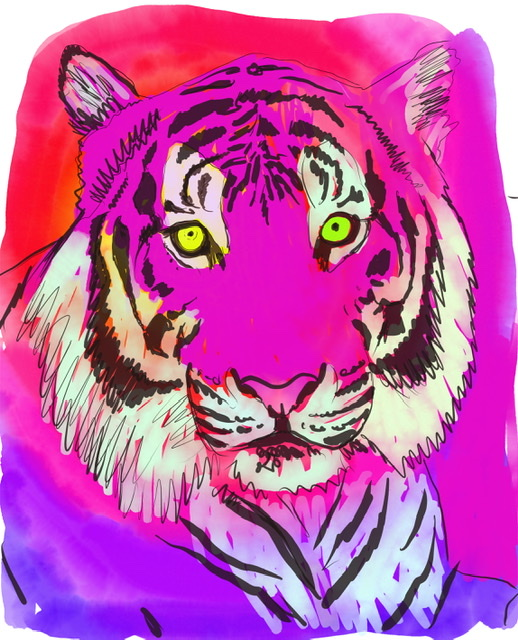 Uffe Christoffersen. A. LAUGHING TIGER. Digital Art