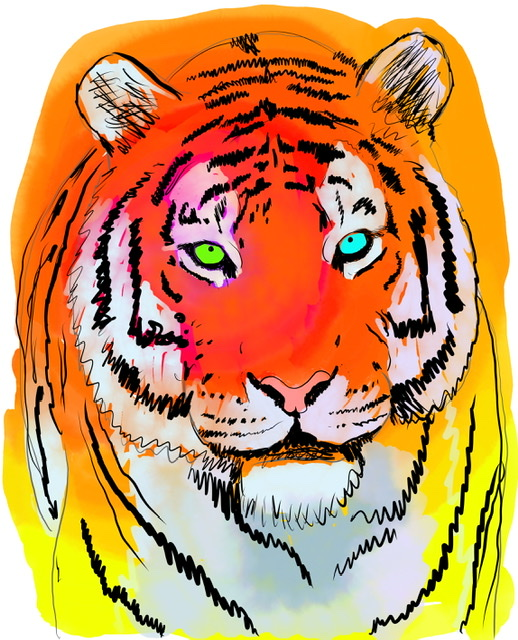 Uffe Christoffersen. B. LAUGHING TIGER. Digital Art