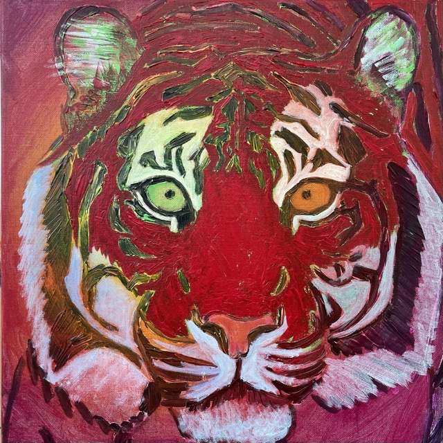 Uffe Christoffersen. Atelier-Kaiserborgen. 09. Purpur rød tiger. 50x50 cm. 2021