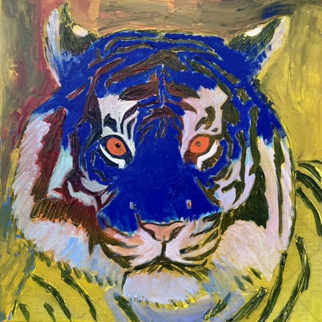 Uffe Christoffersen. Atelier-Kaiserborgen. 06. Ultramarin blå tiger. 50x50 cm. 2021