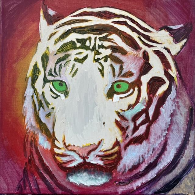 Uffe Christoffersen. Atelier-Kaiserborgen. 02. Titanhvid tiger. 50x50 cm. 2021