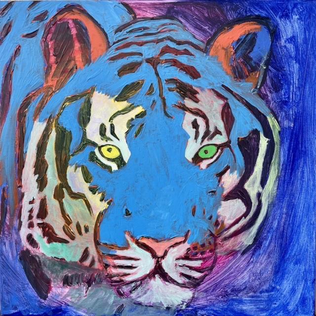 Uffe Christoffersen. Atelier-Kaiserborgen. 01. Koboltblå tiger. 50x50 cm. 2021