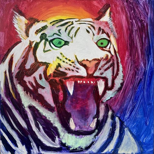 Uffe Christoffersen. Atelier-Kaiserborgen. 07. Zink hvid tiger. 50x50 cm. 2021