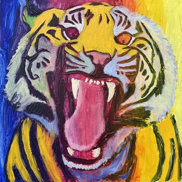 Uffe Christoffersen. Atelier-Kaiserborgen. 04. Varm gul tiger. 50x50 cm. 2021