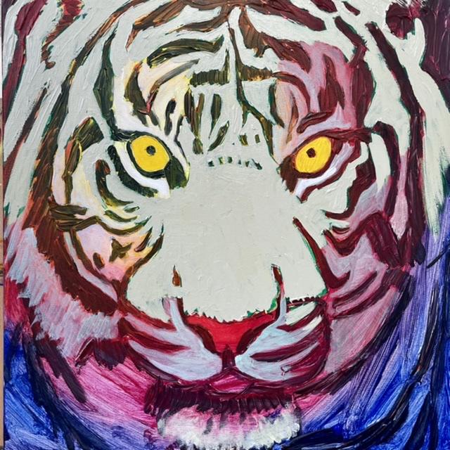 Uffe Christoffersen. Atelier-Kaiserborgen. 05. Hypnotisk hvid tiger. 50x50 cm. 2021