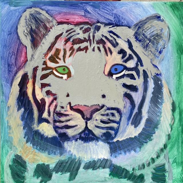 Uffe Christoffersen. Atelier-Kaiserborgen. 03. Blid hvid tiger. 50x50 cm. 2021